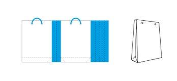 Saco de papel branco e azul do saco atual - do ofício ilustração do vetor