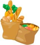 Saco de papel com alimento ilustração stock