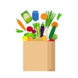Saco de papel com alimentos frescos Fotografia de Stock Royalty Free