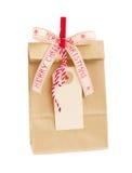 Saco de papel com Empty tag para o Natal Fotografia de Stock Royalty Free