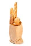 Saco de papel com tipo diferente do pão Fotografia de Stock Royalty Free