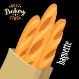 Saco de papel com vetor francês dos baguettes Produto cozido do pão ilustração royalty free