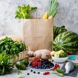 Saco de papel da compra: frutos, peixes, aves domésticas, carne Imagens de Stock Royalty Free