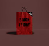 Saco de papel de Black Friday Fotografia de Stock