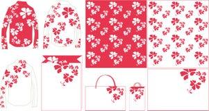 Saco de papel do teste padrão roxo da flor Fotos de Stock Royalty Free