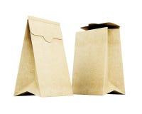 Saco de papel dois no fundo branco 3d rendem os cilindros de image Fotografia de Stock Royalty Free