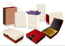 Saco de papel e caixas do vetor Fotografia de Stock Royalty Free