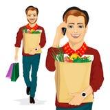 Saco de papel levando do mantimento do homem do moderno completamente de alimento saudável ao falar no telefone celular ilustração royalty free