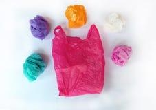 Saco de plástico no branco Fotos de Stock Royalty Free