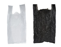 Saco de plástico preto e branco Fotografia de Stock