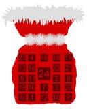 Saco de São Nicolau com calendário do advento Fotos de Stock Royalty Free