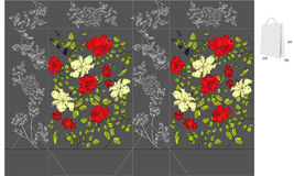 Saco decorativo com teste padrão floral ilustração do vetor