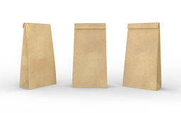 Saco do almoço do papel de Brown isolado no branco com trajeto de grampeamento Imagem de Stock