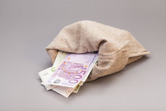 Saco do dinheiro com euro Imagem de Stock Royalty Free
