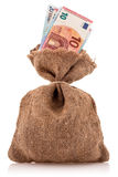 Saco do dinheiro com euro- moeda Fotos de Stock
