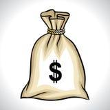 Saco do dinheiro com ilustração do vetor do sinal de dólar Fotografia de Stock
