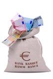 Saco do dinheiro completamente dos euro Fotografia de Stock