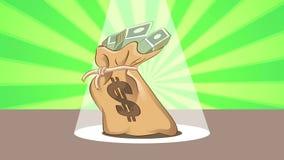 Saco do dinheiro da dança video estoque