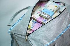 Saco do dinheiro da nota do naira e de moedas locais imagens de stock