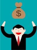 Saco do dinheiro do homem de negócios e do dólar Fotografia de Stock Royalty Free