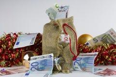 Saco do dinheiro do Natal foto de stock