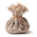 Saco do dinheiro isolado em um fundo branco Fotos de Stock