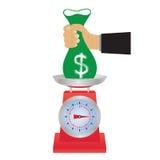 Saco do dinheiro nas escalas Fotos de Stock