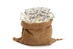 Saco do dinheiro, 100 notas de dólar novas Fotos de Stock