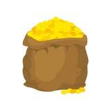 Saco do ouro Muitas moedas de ouro Abra o saco completamente de tesouros Fotos de Stock Royalty Free