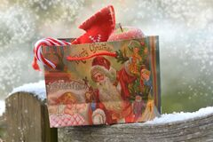Saco do presente do Natal Fotografia de Stock Royalty Free