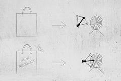Saco do produto genérico ao lado do alvo faltado e seu saco n do produto ilustração royalty free