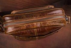Saco do ` s dos homens do couro de Brown Imagem de Stock Royalty Free