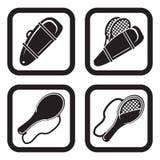 Saco do tênis ou ícone do saco da raquete em quatro vatiations Fotografia de Stock