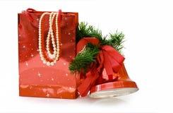 Saco dos presentes do Natal com trajeto de grampeamento fotografia de stock
