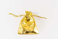 Saco dourado imagem isolada Fotografia de Stock