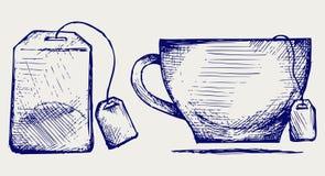 Saco e copo de chá ilustração stock