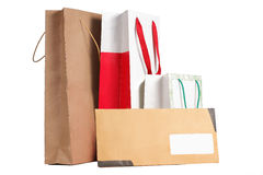 Saco e envelope de compra Imagens de Stock Royalty Free