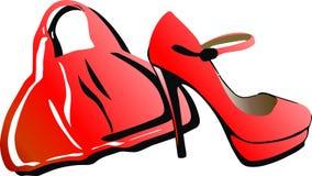 Saco e sapatas vermelhos Fotografia de Stock