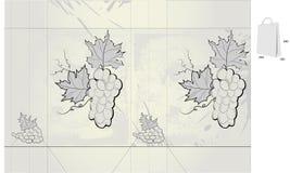 Saco estilizado retro do presente com uvas ilustração royalty free