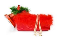 Saco festivo do Natal isolado no branco fotografia de stock royalty free