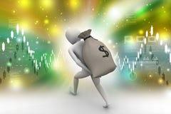 saco levando do dinheiro do homem 3d Fotografia de Stock