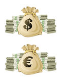 Saco lleno con el dinero del euro y del dólar ilustración del vector
