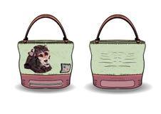Saco para mulheres da cópia um macaco Conveniência do saco para mulheres Foto de Stock