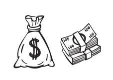 Saco preto do dinheiro Imagem de Stock