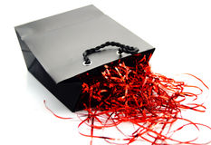 Saco preto e vermelho do presente Imagem de Stock Royalty Free