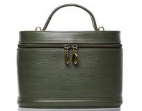 Saco redondo de couro verde Fotografia de Stock