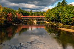 Saco River Covered Bridge, Conway, Hew Hampshire, in autumn.