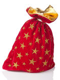 Saco rojo de la Navidad aislado fotos de archivo