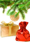 Saco vermelho com os presentes do Natal Imagem de Stock