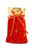 Saco vermelho de Santa de veludo Fotografia de Stock